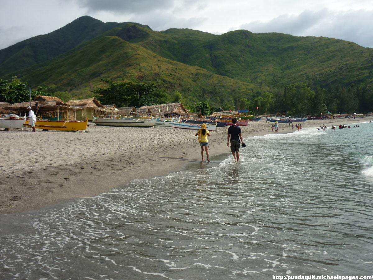 Pundaquit Beach and mountains in the backround